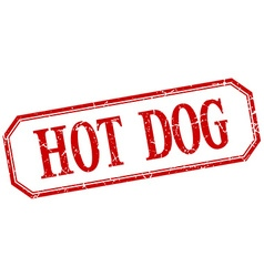 Hot dog square red grunge vintage isolated label vector
