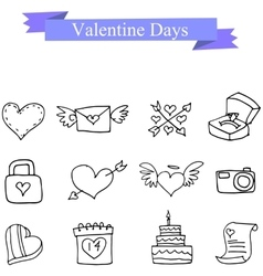 Icon of valentine day romance collection vector
