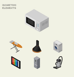 isometric appliance set of cloth iron microwave vector image vector image