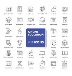 line icons set online education vector image