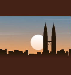 Malaysia city scenery silhouettes collection vector