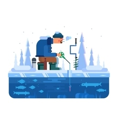 Man on winter fishing vector image