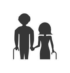 Pictogram grandparents elderly cane vector