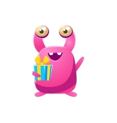 Pink Toy Monster With Birthday Present vector image vector image
