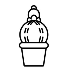 Plump cactus icon outline line style vector