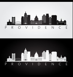 providence usa skyline and landmarks silhouette vector image
