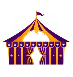 Purple circus tent isolated on white vector image vector image