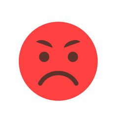 red angry cartoon face emoji people emotion icon vector image