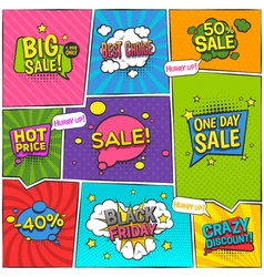 Sale comic page design vector