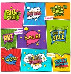 Sale comic page design vector