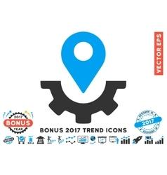 Service Map Marker Flat Icon With 2017 Bonus Trend vector image