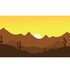 Silhouette of desert vector