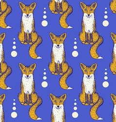 Sketch fox seamless pattern vector