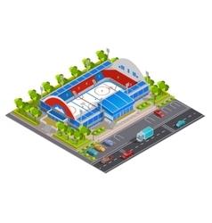 Sport complex stadium isometric banner vector