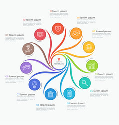 Swirl style infographic template with 11 options vector