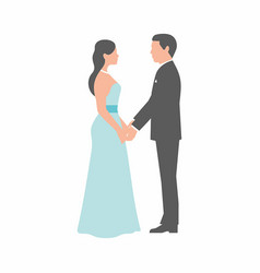 Wedding couple on white background vector