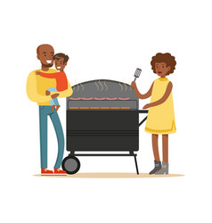 Young black woman grilling sausages on a grill for vector