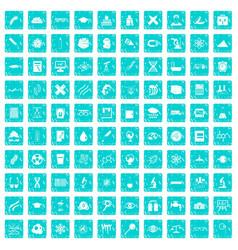 100 microscope icons set grunge blue vector
