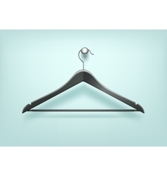Clothes coat plastic black hanger on background vector