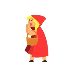 Girl in costume of the red hood character vector