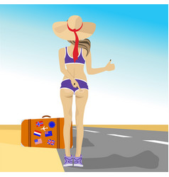 Young woman hitching on highway vector