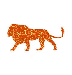 Lion predator color silhouette animal vector
