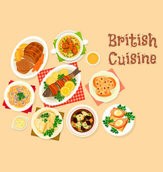 British cuisine tasty dishes icon for menu design vector