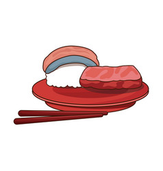 Sushi food japanese fish rice with plate and vector