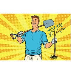 Man gardener with a shovel and sapling vector