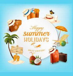 Summer banner design with vacation related icons vector
