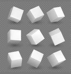 Isolated 3d cubics white cubes or box shapes with vector