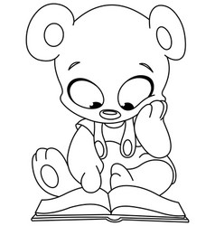 Outlined teddy bear reading book vector