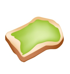 Cut loaf of bread with coconut cream vector