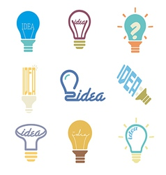 Bulb idea icons set vector