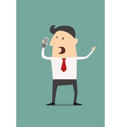 Cartoon businessman using a mobile phone vector