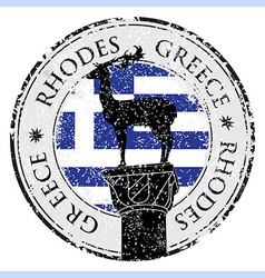 Grunge rubber stamp with the Rhodes Island Greece vector image