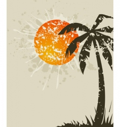 Beach retro a card vector