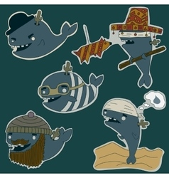 Whale characters set vector