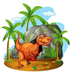Dinosaur standing in front of a cave vector