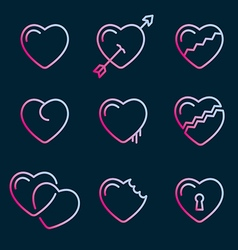 Heart line icons symbols vector
