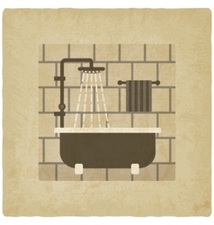 Bath with shower old background vector