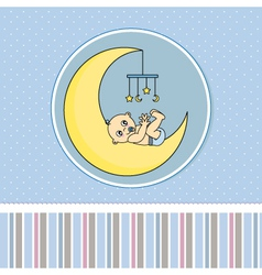 Baby boy birth announcement card vector