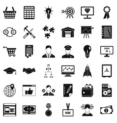 Business career icons set simple style vector