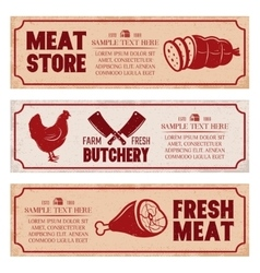 Butchery horizontal banners set vector