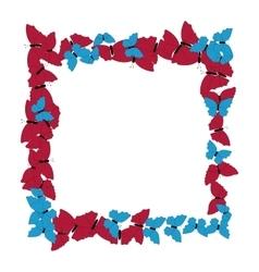 Butterflies frame square pattern border of vector
