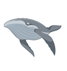 Cartoon swimming whale vector