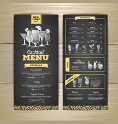 chalk drawing cocktail menu design vector image