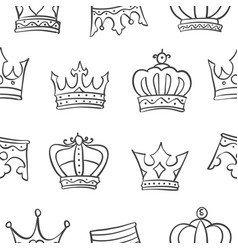 Collection crown sketch hand draw doodles vector