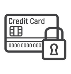 credit card with padlock line icon protection vector image vector image