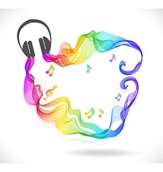 Dark gray headphones icon with color abstract wave vector image